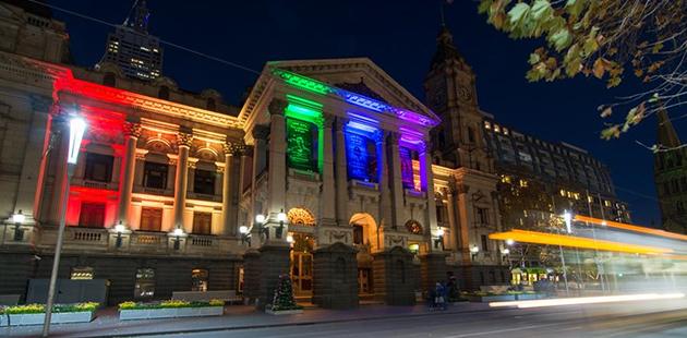 Melbourne Town Hall Rainbow