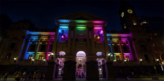 Melbourne Town Hall Rainbow