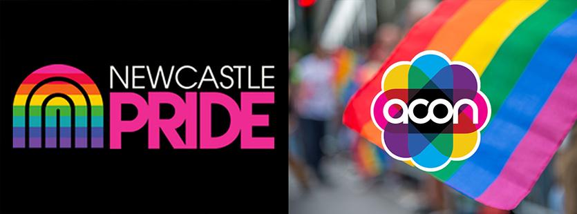 Newcastle Pride ACON logos