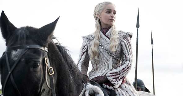 Emilia Clarke as Daenerys Targaryen in season 8 of Game of Thrones - courtesy of HBO