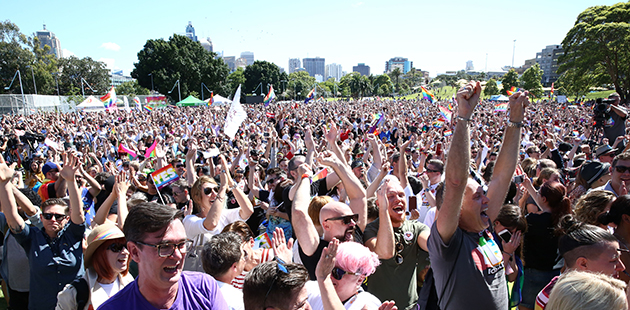 Crowds gather at Prince Alfred Park for marriage equality vote - photo by Damian Shaw_City of Sydney