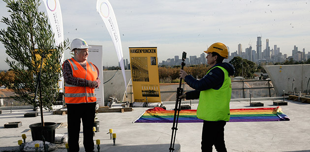 APN VPC Acting CEO Justine Dalla Riva live filming chair Jude Munro for the Topping Out ceremony webinar - photo by Serge Thomann