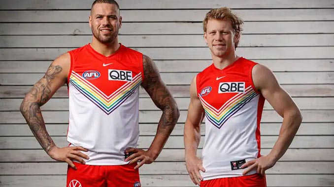 Lance-Franklin-and-Callum-Mills-wearing-the-new-Pride-guernsey-photo-by-Michael-Willson-AFL-Photos