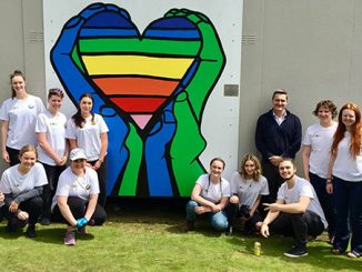 Rodney Croome with students from Don College LGBTI Mural