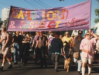 Springs Connections 'Daylesford and District' float in Pride March, 1997, photo by Virginia Selleck, Midsumma Collection, Australian Lesbian and Gay Archives (ALGA)