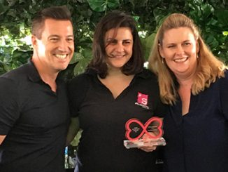 SGLMG Awards 2017 - Ann-Marie Calilhanna (centre) with SGLMG Co-Chairs Damien Hodgkinson and Fran Bowron - courtesy of Sydney Gay and Lesbian Mardi Gras