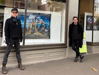 Gerard O'Connor, Marc Wasiak and Maree Coote outside Melbourne Style in South Melbourne – courtesy of David Hunt